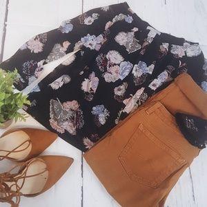 H&M Floral Bubble Long Sleeve Blouse